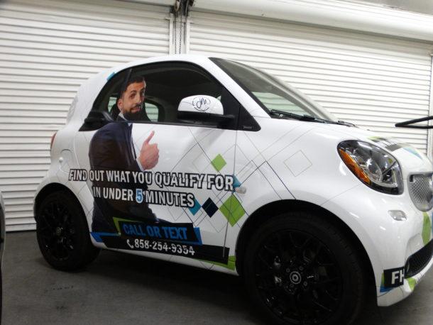 Full Color Print Wrap Smart car.